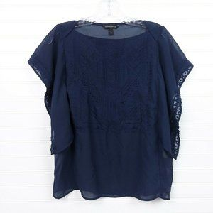 Banana Republic Navy Blue Embroidered Blouse